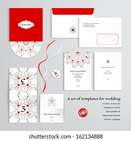 Vector templates to design a wedding. Abstract pattern with curls and hearts. Invitation, envelope, guest card, table number, discs with packaging, magnets and tapes. Dimensions are given.