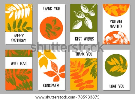 Vector templates with leaves silhouettes, floral background