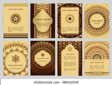 Vector templates with mandala in brown, gold and beige colors. Based on ancient greek, islamic and turkish ornaments. For invitation, banner, postcard or flyer.