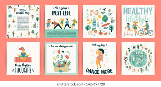 Vector templates with people leading an active healthy lifestyle. Concept for World Health Day and other use. Design element. - Shutterstock ID 1427697728