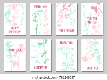 Vector templates with silhouette of wild plants, herbs and flowers, botanical illustration, natural floral background, card or invitation