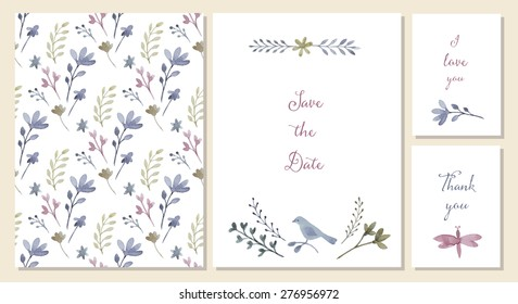 Greeting card design images stock photos vectors shutterstock vector templates with watercolor floral decoration wedding invitations greeting cards or save the date m4hsunfo