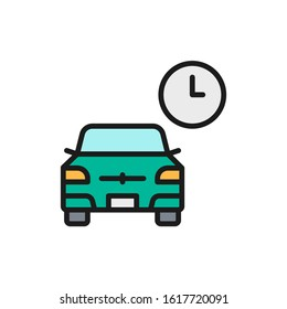 Vector temporary parking, carsharing service flat color line icon.