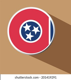 Vector - Tennessee State Flag button icon with long shadow