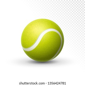 Vector tennis ball isolated on white. Green realistic tennis ball clipart design background closeup.
