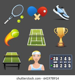vector tennis icons set on dark background