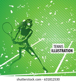 Vector tennis illustration in green colors