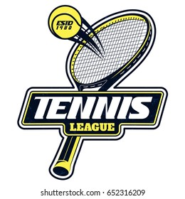 Vector tennis league badge with superimposed texture for your design, print or internet
