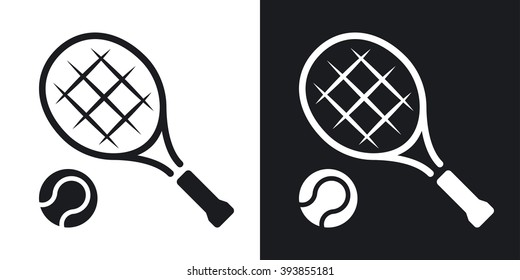 Vector tennis racket and tennis ball icon. Two-tone version on black and white background