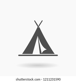 Vector Tent Accommodation Icon Illustration silhouette.