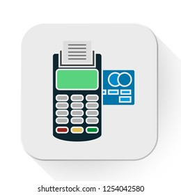 vector terminal icon. Flat illustration of payment card. payment machine isolated on white background. payment sign symbol - pos icon
