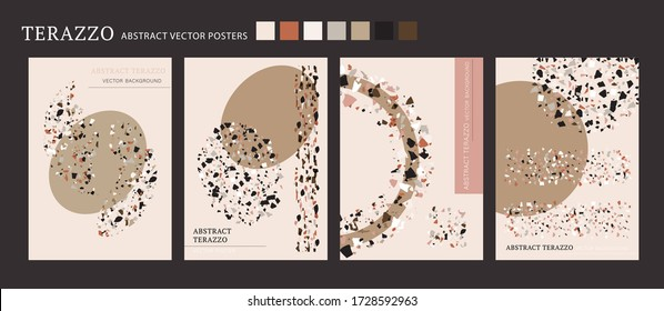 Vector terrazzo interior poster. Cool shape composition set. Abstract contrast textured background done from real broken small tile chips. Modern color pastel marble art card collection for print.