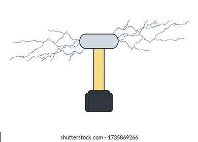 Vector tesla coil isolated illustration in flat style. Electrical transformer concept.