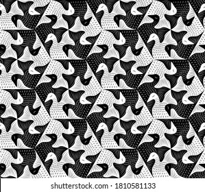 Vector tessellation art collection. Colored geometric pattern set.