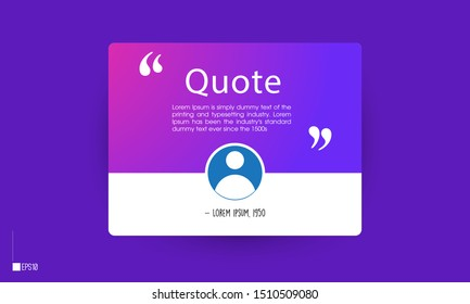vector of testimonial/quotes template with text placeholder for websites. Suitable for web and mobile app isolated on background, illustration template design and creative presentation.