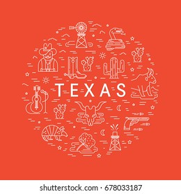 Vector Texas outline icons made in circle isolated on  background. Cowboy, longhorn and other Texas sumbols.