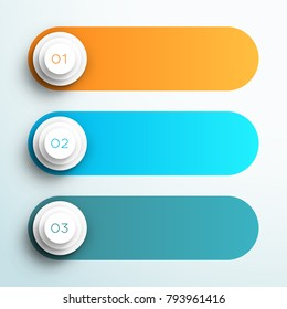 Vector Text Box Banners Infographic 1, 2, 3