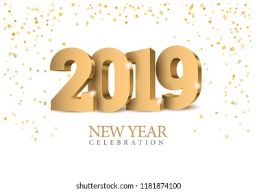 Vector text Design 2019. gold 3d numbers. Happy new year template greeting card.