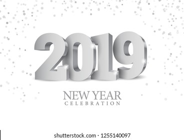 Vector text Design 2019. silver 3d numbers. Happy new year template greeting card.