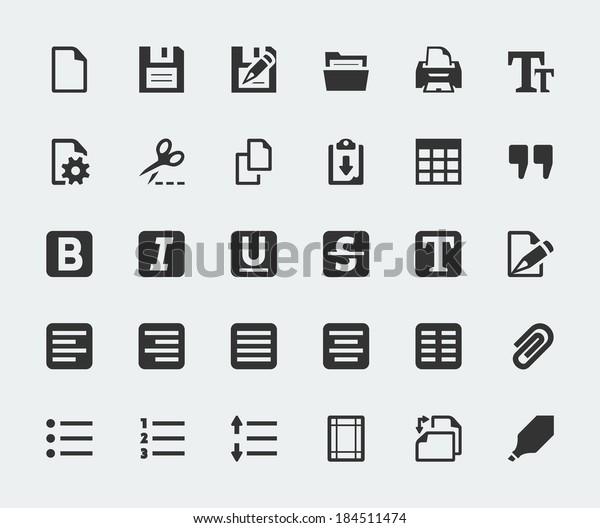 Vector text editor mini icons set