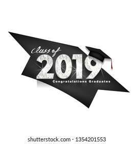 Vector text for graduation silver design, congratulation event, T-shirt, party, high school or college graduate. Lettering Class of 2019 for greeting, invitation card