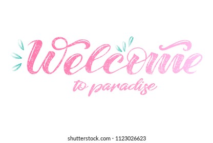 """Vector text """"Welcome"""". Lettering, calligraphy, typography. Drawn art sign. Lettering for logotype, badge, icon, card, postcard, logo, banner, tag. Celebration vector illustration EPS 10"""