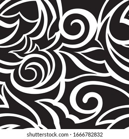 Vector texture of black color isolated on white background spirals and broken abstract shapes. Floral pattern for fabrics or packaging. Ornament with with cuts.