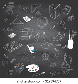 Vector texture of blackboard. Freehand drawing school items on a sheet of exercise book. Set