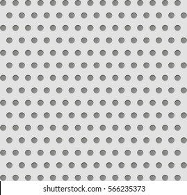 Vector texture with effect of perforation on metal or plastic. Background for design of the site, business cards, banners, posters, postcards, fabric, wallpaper and interior.