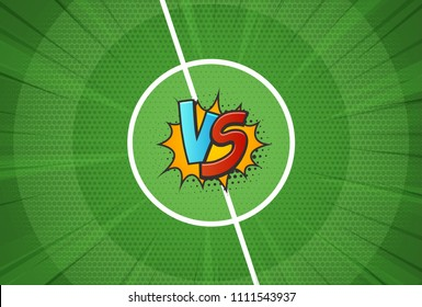 Vector texture of the football field vs for soccer championship background. Versus battle template vector illustration