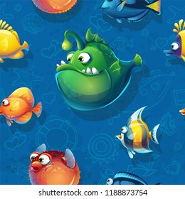 Vector texture funny fish. Bright image to create original video or web games, graphic design, screen savers.