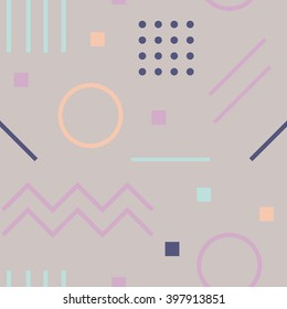 Vector texture of geometric colorful shapes. Geometric figures pattern in modern hipster style. Nice abstract background with geometrical figures in flat style and pastel colors.