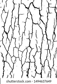 Vector texture with many cracks and scratches. Crackle.