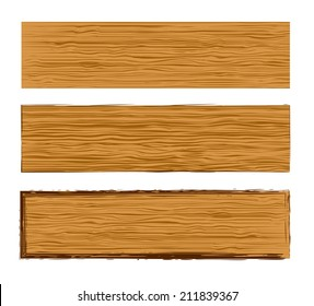 Vector texture wood planks banner templates set