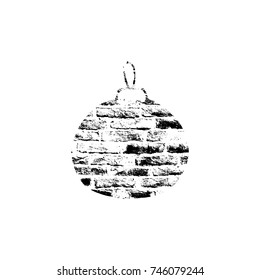 Vector textured Christmas tree toy, stylized imprint on bricks. Black on white isolated element for holiday cards or stamp brushes creating. It will bring depth and vintage texture to any work.