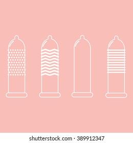 Vector textured condoms. Types of condoms, outline