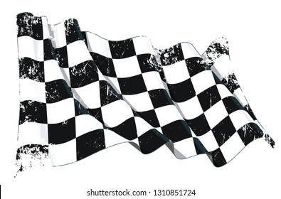 Vector textured grunge illustration of a motor race waving finish checkers flag. All element neatly on well-defined layers and groups.
