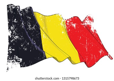 Vector Textured Grunge illustration of a Waving Flag of Belgium.  All elements neatly on well-defined layers and groups.