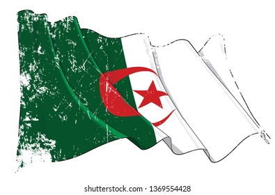 Vector Textured Grunge illustration of a Waving Flag of Algeria. All elements neatly on well-defined layers and groups.