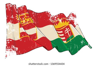 Vector Textured Grunge illustration of a Waving Flag of Austria-Hungary. All elements neatly on well-defined layers and groups. Sepia overtone on a separate group