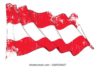 Vector Textured Grunge illustration of a Waving Flag of Austria. All elements neatly on well-defined layers and groups.