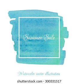 Vector textured hand painted watercolor Summer Sale banner with paint stains and blots. Hand drawn watercolor cubic form isolated, blue, green, turquoise, teal colors, Vector Watercolor Background