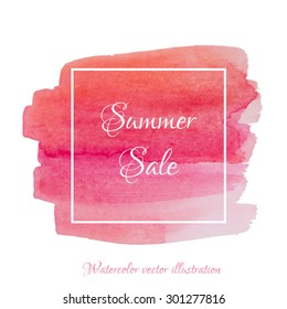 Vector textured hand painted watercolor Summer Sale banner with paint stains and blots. Hand drawn watercolor cubic form isolated, coral, pink, red, strawberry colors, Vector Watercolor Background