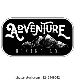 Vector Textured Retro Outdoor Mountain Adventure Hiking Company Patch Logo in Black & White. Great for t-shirts, hats, apparel, logos, gifts, home decor, textiles, stationery, and paper crafting.