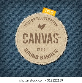 Vector textured rough canvas label with ribbon tag