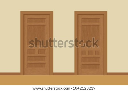 Vector Textured Wooden Interior Doors Door Stock Vector Royalty