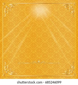 Vector Thai background in gold color with the luxury gold frame