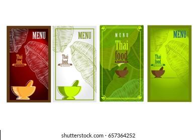 Vector of Thai Food Restaurant Cover Menu, Thai Cuisine Design Template