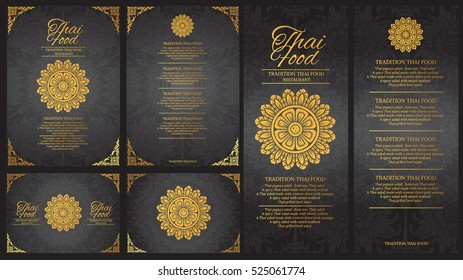 vector thai food restaurant menu template.thai tradition background
