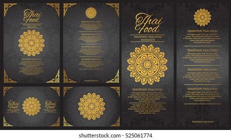 vector thai food restaurant menu template.thai tradition background